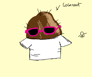 coconut with big pink glasses and a T shirt