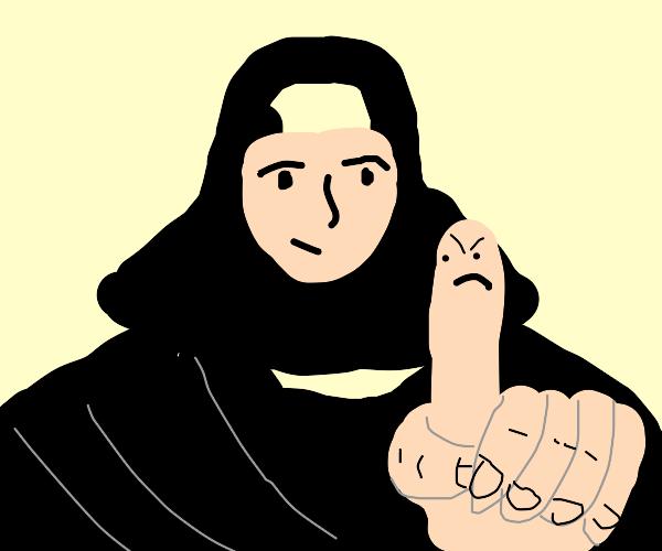Nun's finger is upset