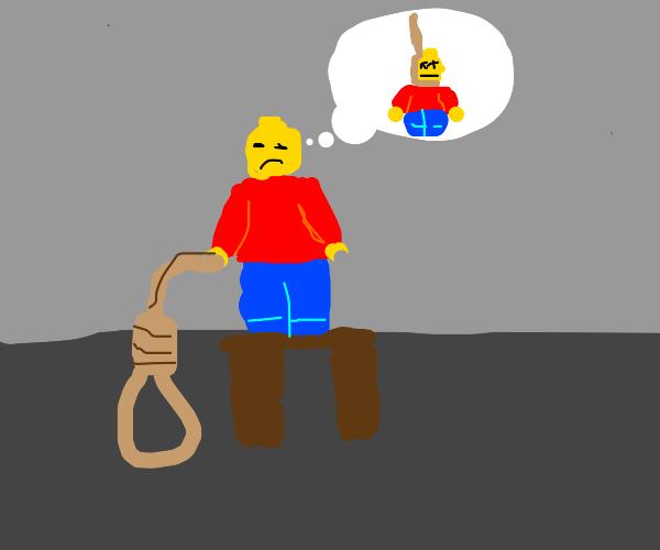 Lego guy contemplates suicide.
