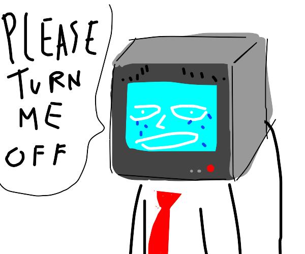 TV head thinks that life is sad