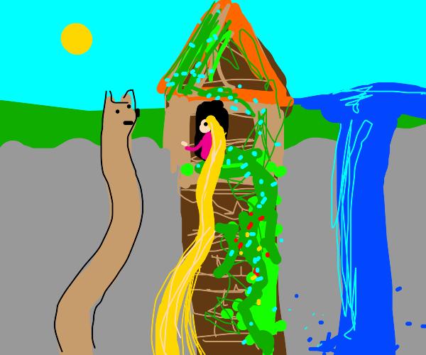Extendo Doggo goes up to Rapunzel