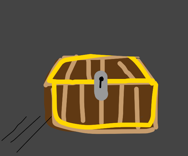 Brown Chest with a silver lock.
