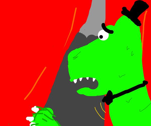 Dinosaur in hat sees man through a curtain