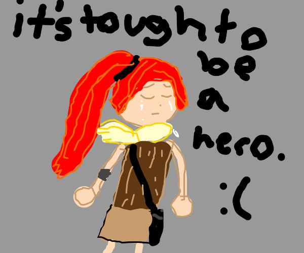 tragic heroine cries quietly