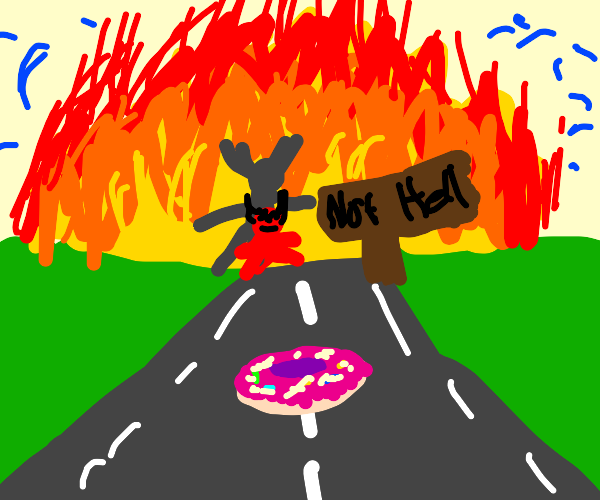donut on a highway (possibly to hell)