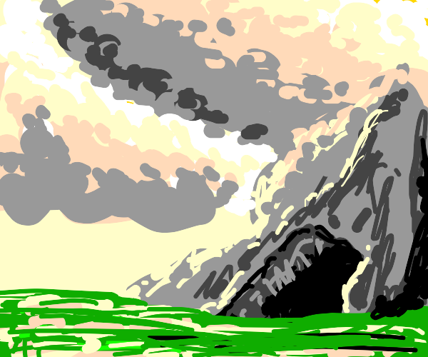 blue sky, clouds, mountain, cave, and grass.