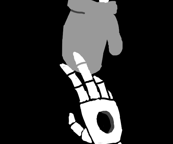 Skeleton hand with a hole touches a glove