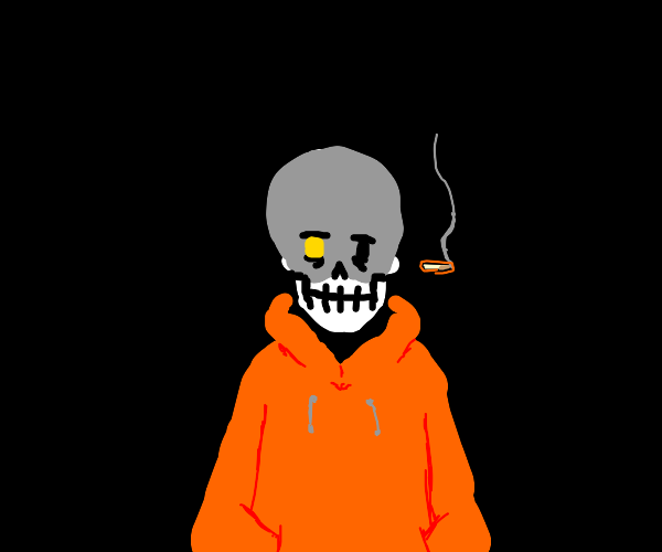 Skeleton keeps smoking