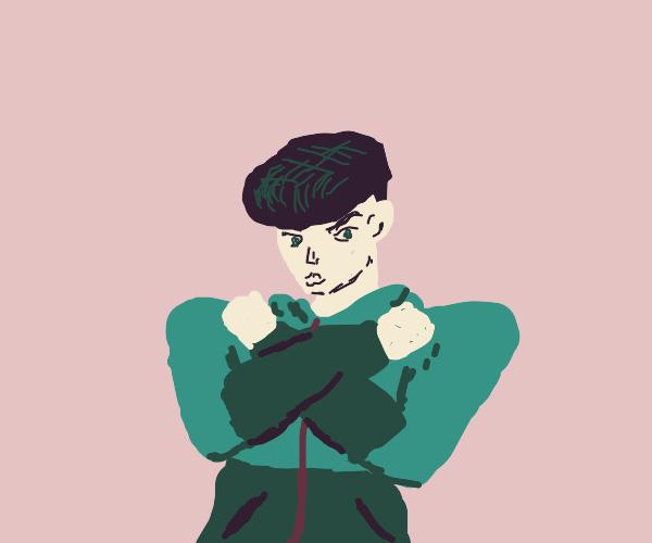 Josuke but wearing bad 90s fashion