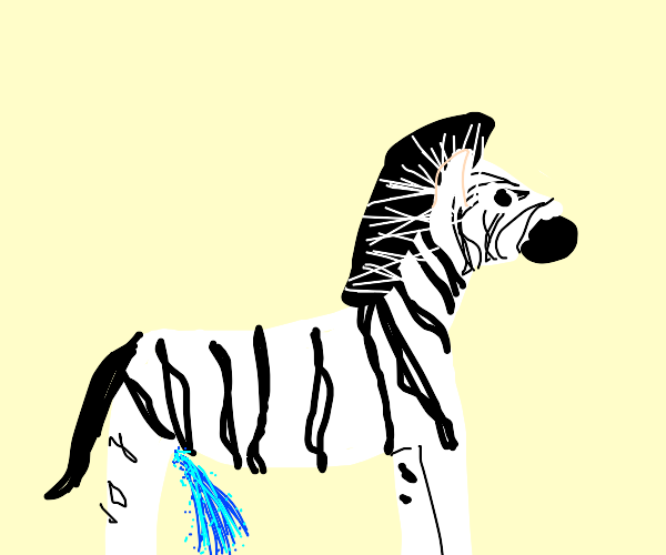 Zebra peeing with blue sparkles coming out