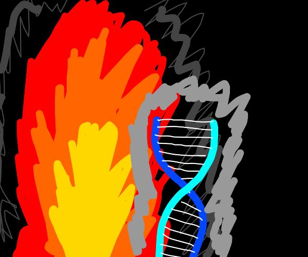DNA strand emerging from bonfire