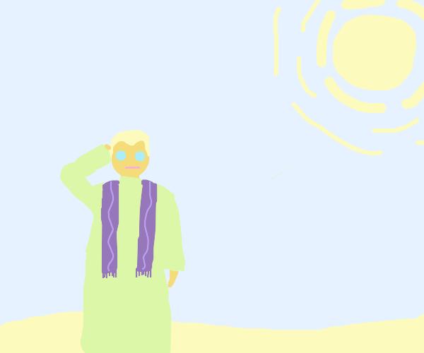 Priest wandering a desert