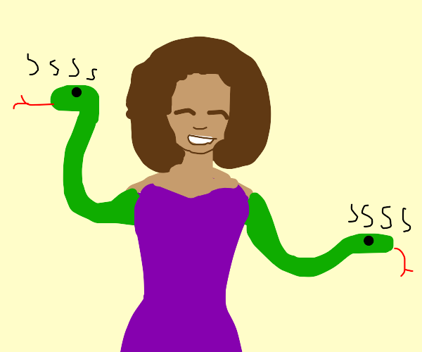A cheery lady with hissing snake arms