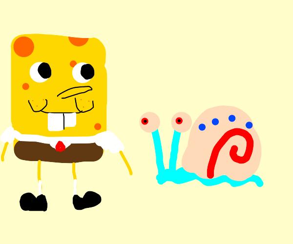 Spongebob and Gary.