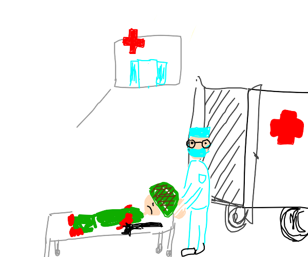 Soldier in the hospital.