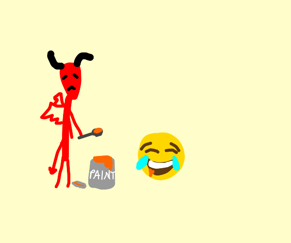 fragile demon trying to feed an emoji paint