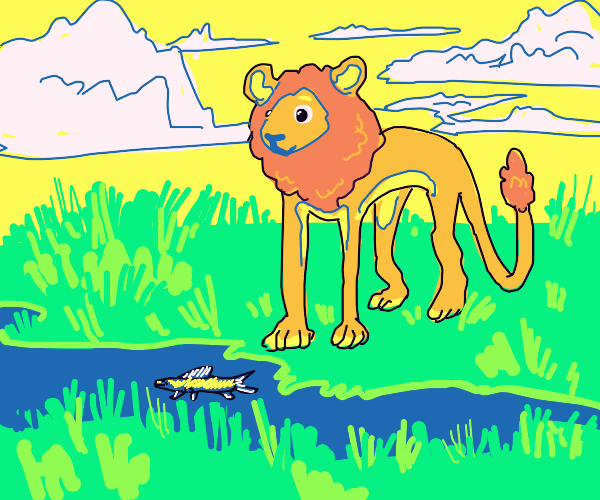 a lion and a fish