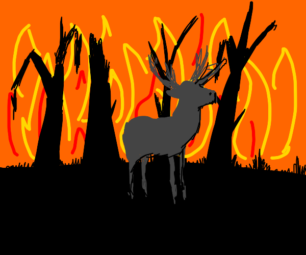Stag in a burning forest.