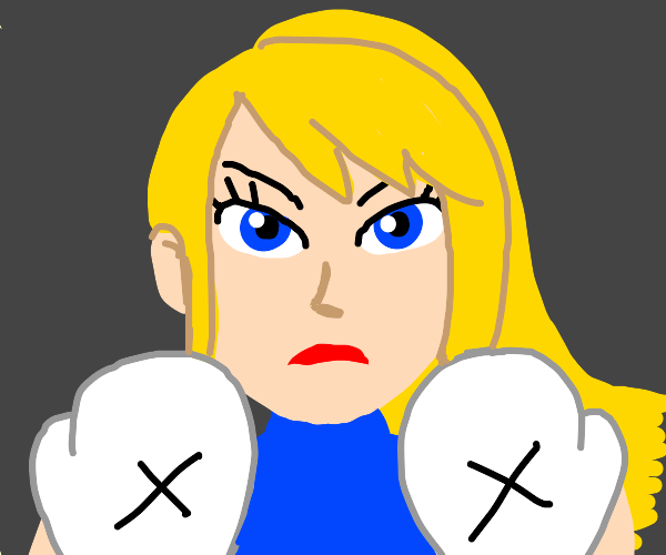 Blonde girl with white boxing gloves