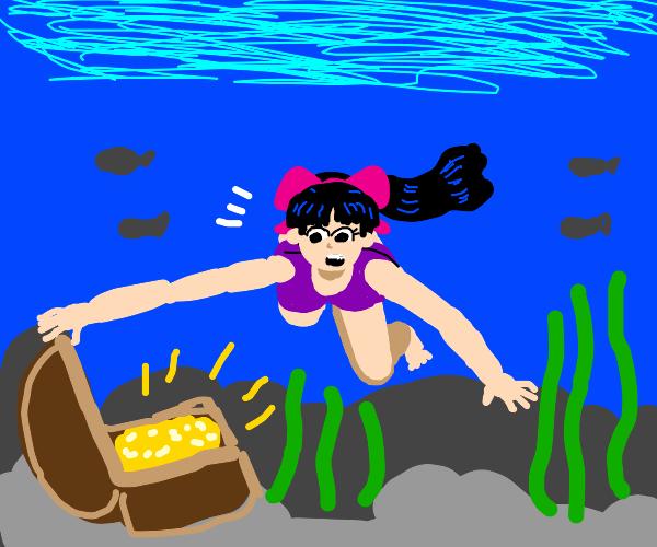 girl finds underwater treasure