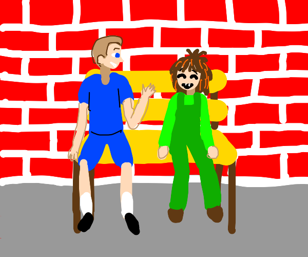 Two kids sit in front of a brick wall