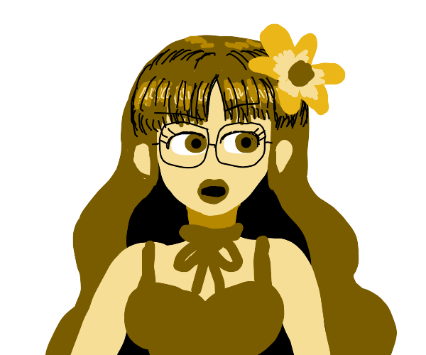 She has a flower, a ribbon & glass bangs