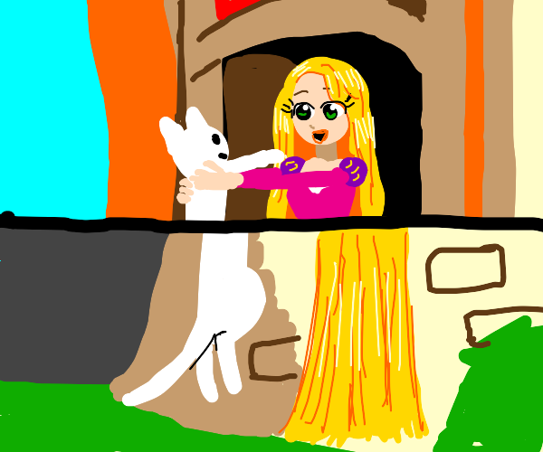 Rapunzel holding cat as long as her hair