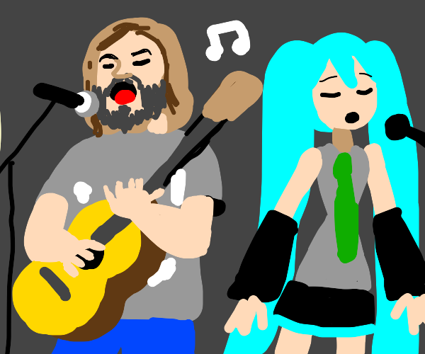 Jack Black and Hatsune Miku