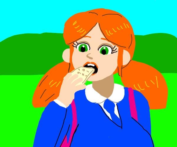 Schoolgirl eats Cracker