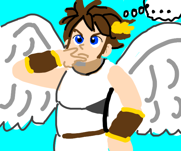 Pit from kid icarus/smash bros thinking