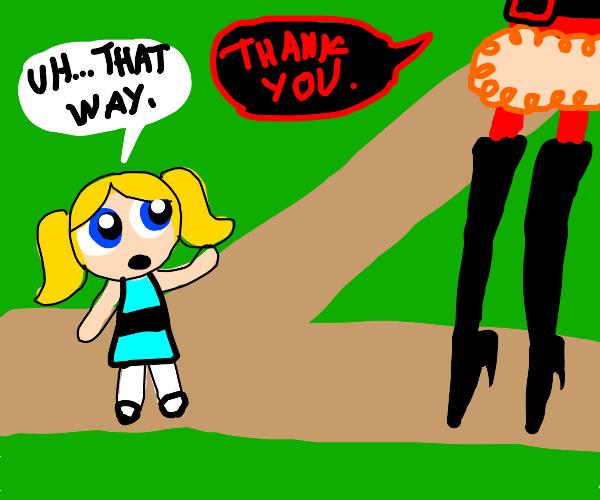 Little blonde girl gives devil directions