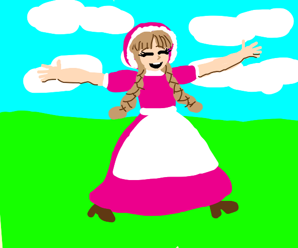 Elated prairie girl