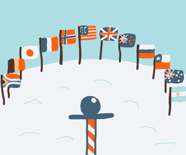 all the country flags surround a candy cane