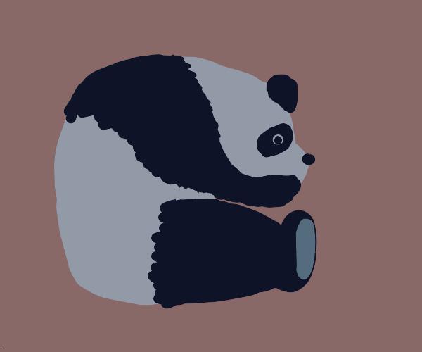 Panda that is bent over