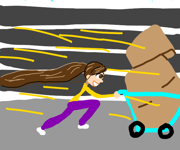 Woman racing at the speedofsound withshopcart