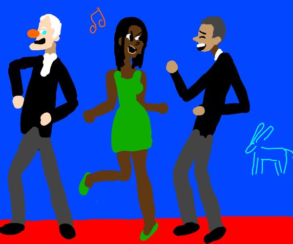 bill clinton, barack and michelle obama dance
