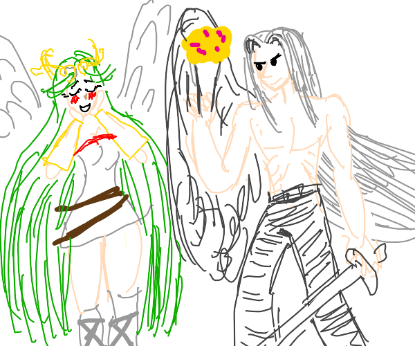 angel girl swoons over shirtless guy