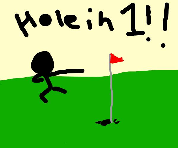 dabbing golfer hitting blazing hole-in-one