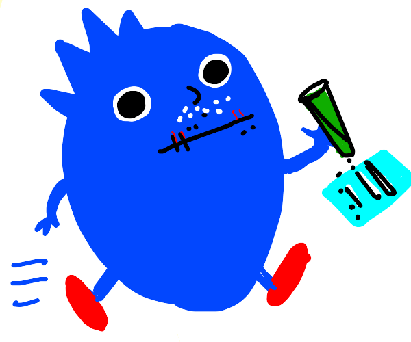 Sonic the hedgehog on cocaine with dry lips