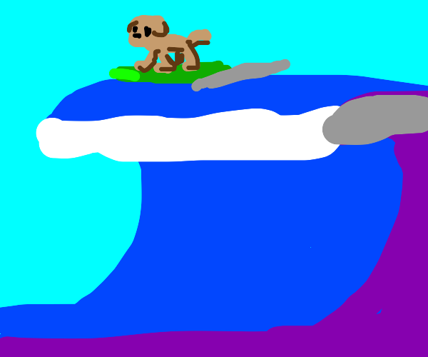 A dog surfing a huge wave.