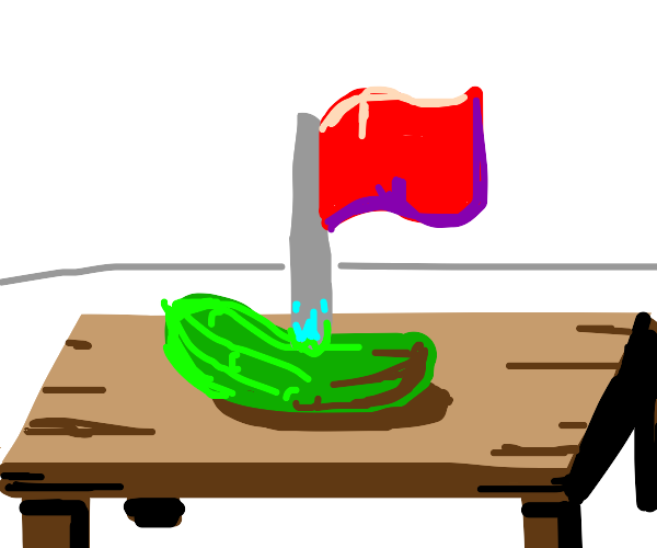 pickle with a flag on the table?