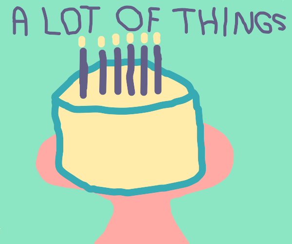 "Cake with the text ""A lot of things"""