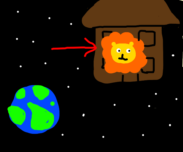 Lion lives on space after escaping Earth