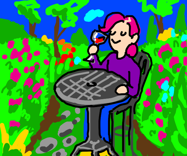 Pink haired person drinking wine in a garden