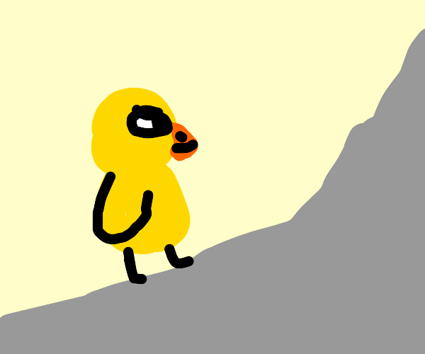 duck from duck song walking up mountain
