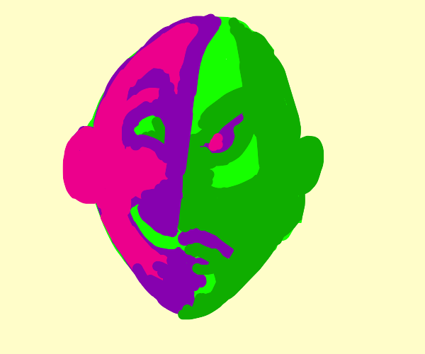 green and pink 2 face