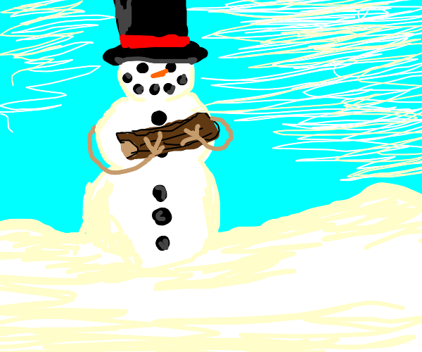 snowman holding a log of wood