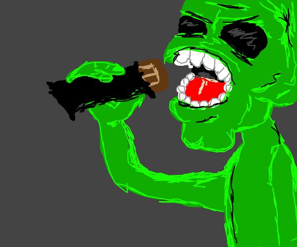 Alien eats a chicolate bar