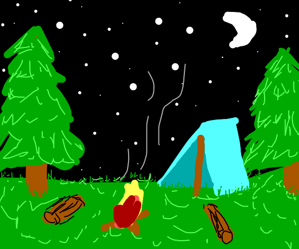 Night at a campfire. Tent included