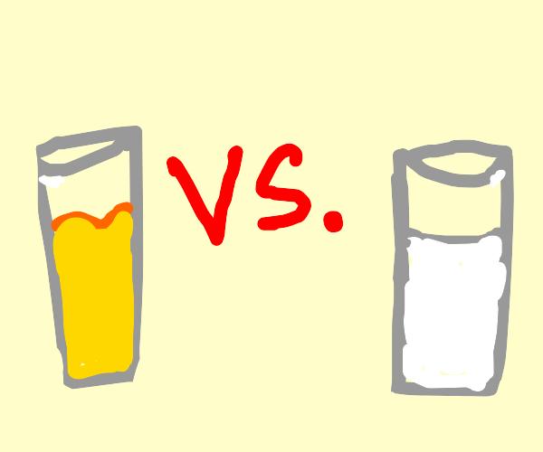 Glass of apple juice vs glass of milk